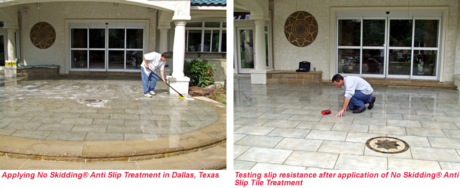 Applying & Testing No Skidding slip resistance in Dallas, Texas